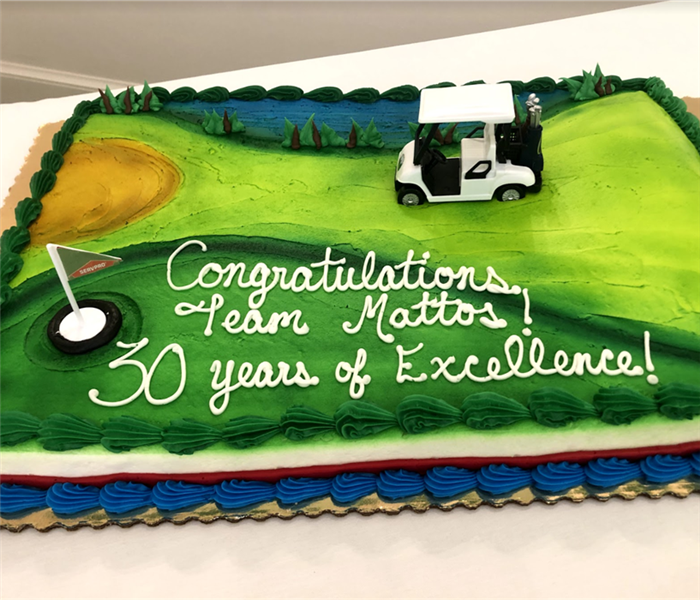 a cake that says congratulations on 30 years